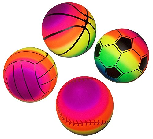 (4 Assorted Rainbow 9 Inch Basketball Soccer Baseball Volleyball Toy Sports)