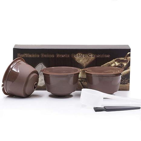 Womdee Cápsula de Filtro de café, 3 Unidades Recargables para máquinas Nescafe Dolce Gusto con