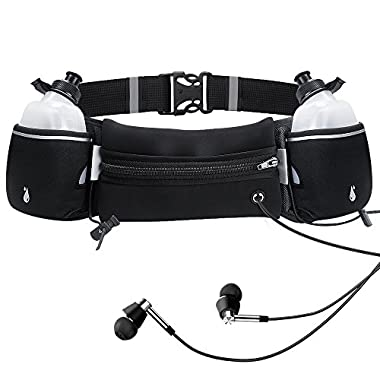 Sahara Sailor Running Hydration Belt Fitness Workout Waist Pack for Men and Women W 2 BPA-Free Water Bottles Fits iPhone 7 / 7 Plus