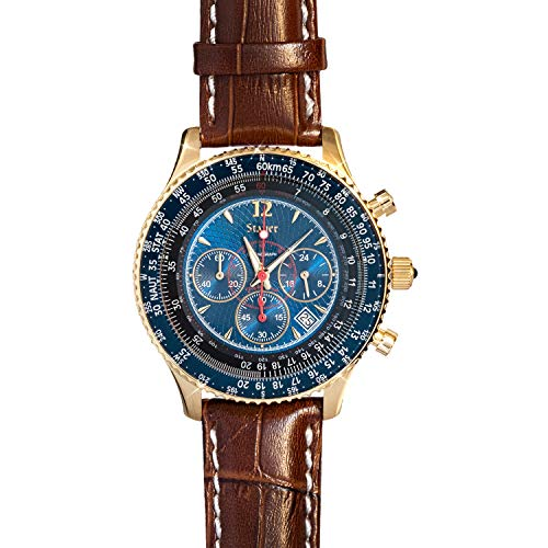 Stauer Men's Chronograph Flyboy Blue Watch with Stainless Steel Case and Brown Leather Band
