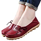 vaganana Women's Leather Loafers Wild Driving Casual Flats Shoes Wine Red 8 B(M) US