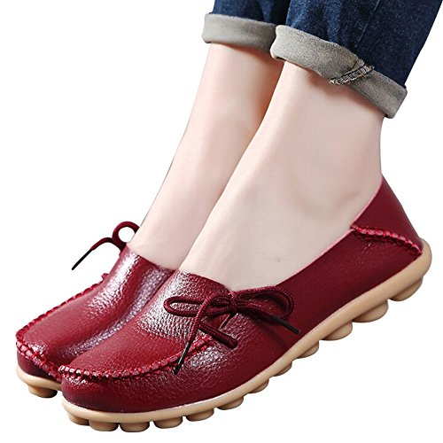 vaganana Women's Leather Loafers Wild Driving Casual Flats Shoes Wine Red 8 B(M) US by vaganana