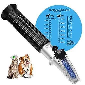 Refractómetro clínico para animales 3 en 1, índice de salud de los animales de la orina, gravedad específica y proteína de suero, ideal para ...