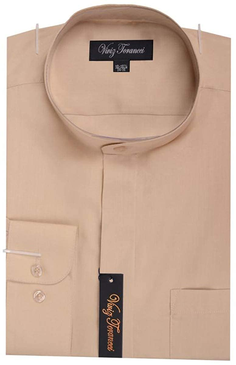 Viviz Forancci Mens Regular Fit Long Sleeve Banded Collar Solid