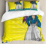 Ambesonne Anime King Size Duvet Cover Set by, Manga Style Girl Samurai Warrior Character on Abstract Background in Yellow and Blue, Decorative 3 Piece Bedding Set with 2 Pillow Shams, Multicolor