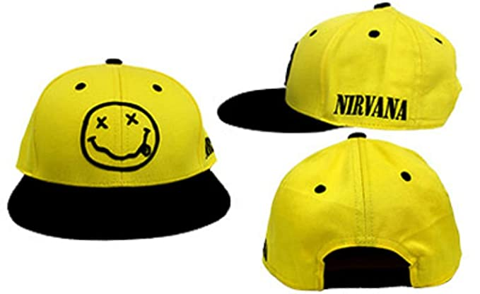 c7c37a52d6725 Image Unavailable. Image not available for. Colour  Nirvana Official Logo  with Smile Smiley Face Yellow Embroidered Trucker Snapback Hat ...