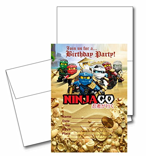 12 NINJAGO Birthday Invitation Cards (12 White Envelops Included)