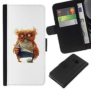 YiPhone /// Tirón de la caja Cartera de cuero con ranuras para tarjetas - Borracho Búho - HTC One M7