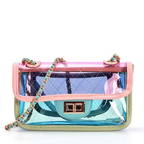 2018 Dama Verano Color Transparente Bolso Jalea Impermeable Playa Bolsa De Cosméticos Embrague Mini Cuerpo Cruzado Bolsa Pink