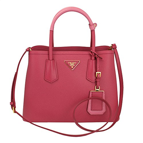 Prada-Saffiano-Cuir-Double-Mini-Tote-Bag-Pink