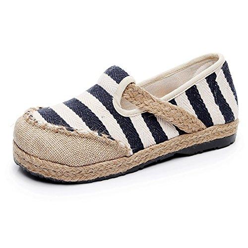 Zapatos de Mujer New Spring Fall Academy Zapatos de Lona Zapatos de Boca Redondeada Zapatos de Boca Baja Slip on Lazy Shoes Alpargatas de Viento Nacional C