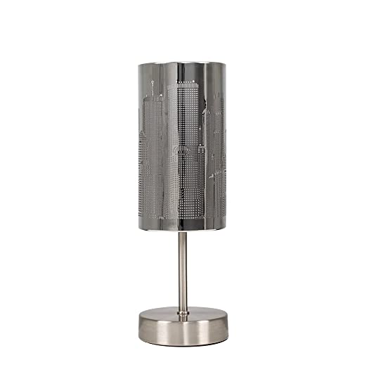 Modern chrome touch table lamp with new york skyline shade amazon modern chrome touch table lamp with new york skyline shade aloadofball Images