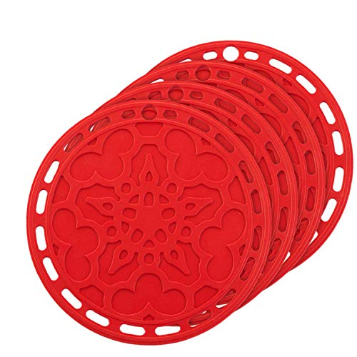 Silicone Hot Pads (Set of 4) - 6 in 1 Multi-purpose Kitchen Tool, Pot Holder, Splatter Guard, Microwave Cover, Jar Opener, Decorative Trivet, Red, 8 Inches. Includes 121 Cooking Secrets Ebook ()