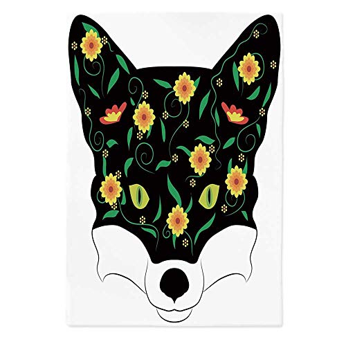 Fox Fashionable Tablecloth,Artistic Fox Portrait Face with Summer Meadow Flowers Swirled Twigs Pattern Decorative for Secretaire Square Table Office Table,60''W X 84''L