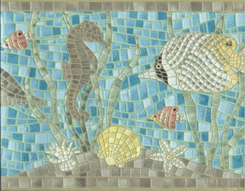 - Wallpaper Border Cushion Textured Mosaic Tile Ocean Fish Seahorse Dolphin Turtle