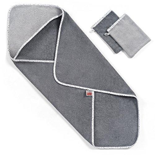 Baby Kapuzenhandtuch / Kapuzentuch 80x80 cm - inkl. 2 GRATIS Waschlappen - Schadstoffgeprüft nach Öko-Tex Standard 100 / Frottee - 100% Baumwolle - Sternchen Grau