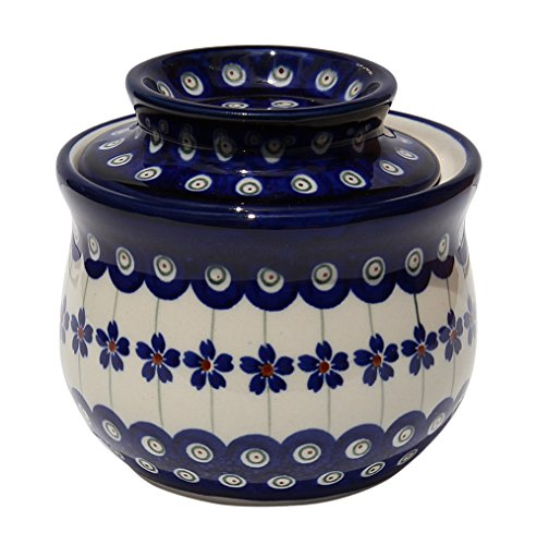 Polish Pottery French Butter Dish From Zaklady Ceramiczne Boleslawiec 1512-166a Floral Peacock Pattern