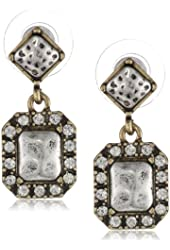 "NINE WEST VINTAGE AMERICA ""Vintage Glamour"" Two-Tone Pave Post Drop Earrings"