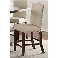 Set of 4 Cream Counter Height Chairs with Padded Seating