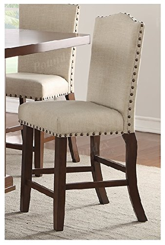 Set of 2 Cream Counter Height Chairs with Padded Seating