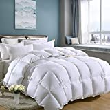 Medium Weight White Goose Down Feather Comforter Warmth Duvet Insert,600Thread Count 100% Cotton Cover,Super Fluffy,Queen Size,White Stripes