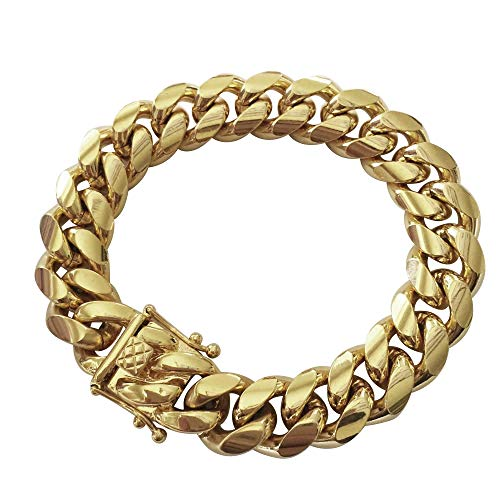 Tripod Heavy Thick Men's Miami Cuban Link Bracelet- 14K Gold Plated Stainless Steel 14mm (14mm, 8.5