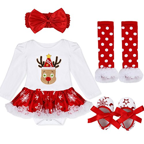 YiZYiF Baby Infant Girls 1st Christmas Costume Tutu Romper Dress Outfits Set (3-6 Months, 4PCS Xmas Deer) for $<!--$13.65-->