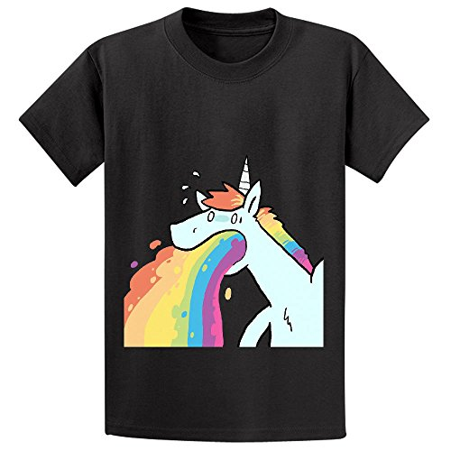 Price comparison product image Andy Rainbow Unicorn Cute Unisex Crew Neck Short Sleeve Shirts Black