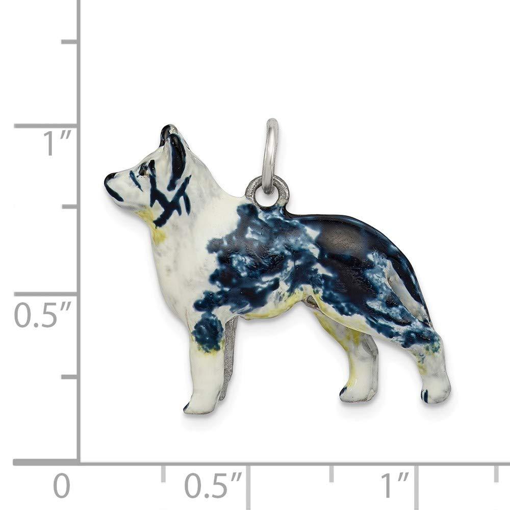 22mm x 25mm Mia Diamonds 925 Sterling Silver Silver Enamel Australian Shepherd Charm
