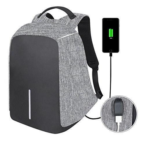 Anti-Theft Business Laptop Backpack Travel Daypack with USB Charging Port School Book Bag Fits 15.6 Inch Laptop Notebook for College Students Work Men & Women Size 12.59\'\' x 5.12\'\' x 16.53\'\' (Grey)
