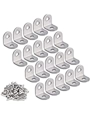 Corner Braces, Ouioui 20 Pieces Stainless Steel (0.98 x 0.98 inch, 25 x 25 mm) Joint Right Angle Fastener L Shaped Support Bracket for Shelves Cabinets Wood Furniture, 40 Pieces Screws Included
