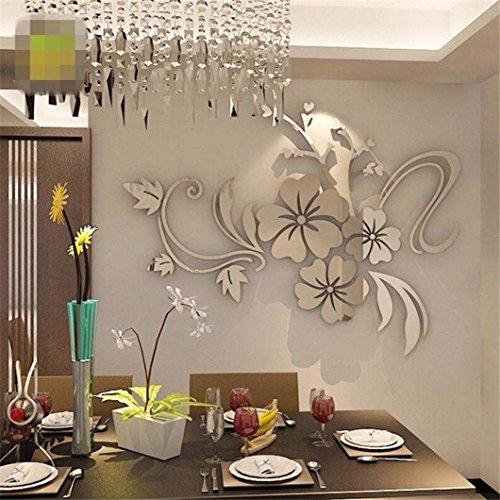 Waymine - calcomanía decorativo para pared con espejo 3D, diseño floral, acrílico, para recámara o sala de estar, 4060...