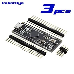 RobotDyn - 3 PCS - Micro ATmega32U4 (5V, 16MHz). Pinheaders NOT SOLDERED. Compatible with Arduino Micro and Leonardo
