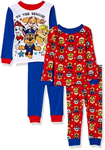 Nickelodeon Boys' Toddler Paw Patrol 4-Piece Cotton Pajama Set, Rescue red, 2T]()