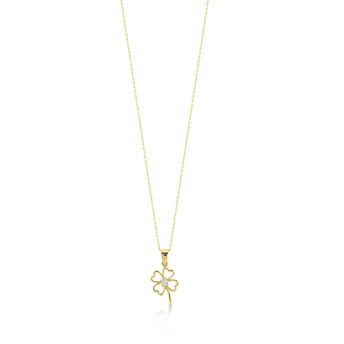 699e6c308 Amazon.com: Gelin 14k Real Gold Cubic Zirconia Good Luck Four Leaf Heart  Simple Clover Chain Necklace - Women Certified Fine Jewelry Birthday Gift,  ...