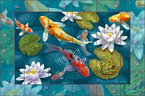 (Koi Fish Art Tile Mural Backsplash - Magical Pond II by Jeff Wilkie Ceramic Kitchen Shower Bathroom (25.5