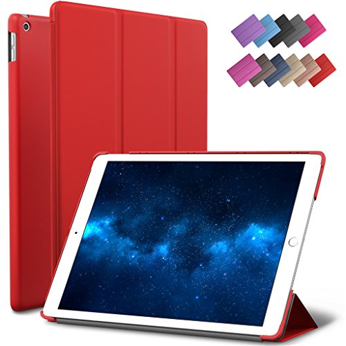 New iPad 9.7 2017 Case, ROARTZ Red Slim Fit Smart Rubber Coated Folio Case Hard Shell Cover Light-Weight Auto Wake/Sleep For Apple iPad 9.7-inch 5th generation Model A1822/A1823 Retina