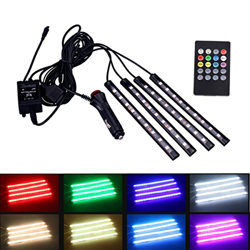 4Pcs Colorful Car Interior LED Atmosphere Light, YANF DC12V Car Neon Floor Strip Lights RGB Music Control LED Underdash Lamp Kit with Sound Music Active Function and Wireless Remote Control