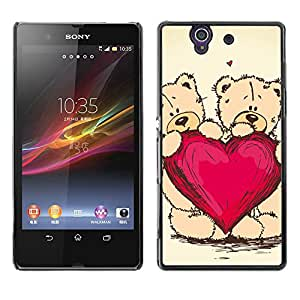 Qstar Arte & diseño plástico duro Fundas Cover Cubre Hard Case Cover para Sony Xperia Z / L36H / C6602 / C6603 / C6606 / C6616 ( Heart Teddy Bear Love Couple Romance Art)
