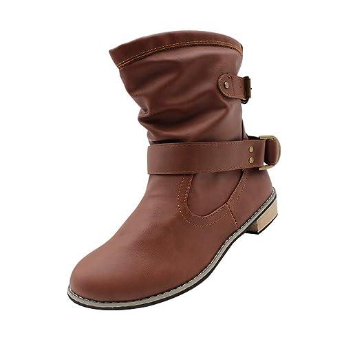 Tenthree Botines Invierno Planas Tobillo Zapatos - Mujer Mitad Pantorrilla Chunky Bloque Martin Botines Vaquero Informal Bota Occidental Zapatos Al Aire ...
