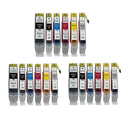 (YATUNINK 3 Set of PGI-250XL CLI-251XL ( 3BK + 3PBK + 3C + 3M + 3Y + 3GY ) Ink Cartridge Compatible for Canon PIXMA IP7220 IP8720 MG5520 MG6320 MG6620 MX922)