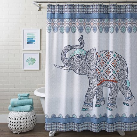 Better Homes and Gardens Global Elephant Shower Curtain, Multiple Colors from Better Homes and Gardens