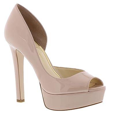 9969b864b8 Jessica Simpson Martella Platform Heels, Nude Blush Patent, 6 US / 36.5 EU
