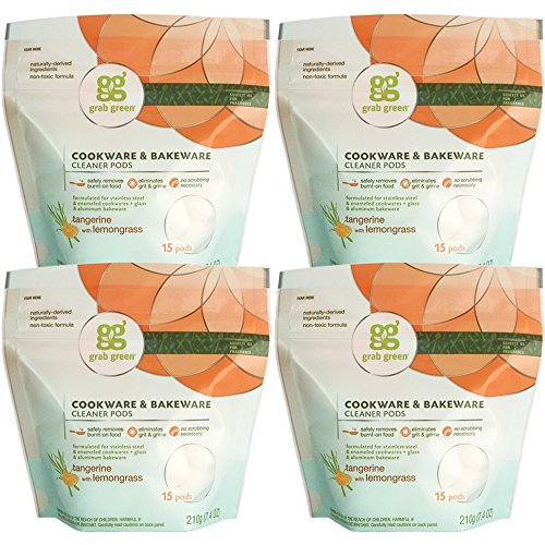 Grab Green Natural Cookware & Bakeware Cleaner Pods, Plant & Mineral-Based Ingredients, Tangerine + Lemongrass-With Essential Oils, 15 pods (4-Pack) ()