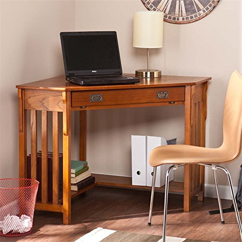 Corner Computer Desk - Mission Oak -