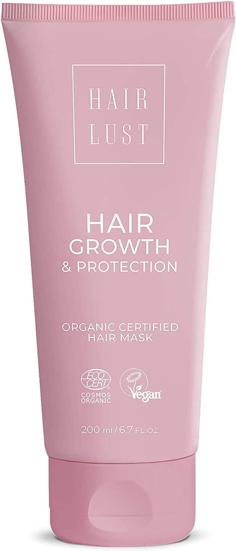 HairLust - Mascarilla para el crecimiento y la protección del cabello, 200 ml, certificada, orgánica y vegana