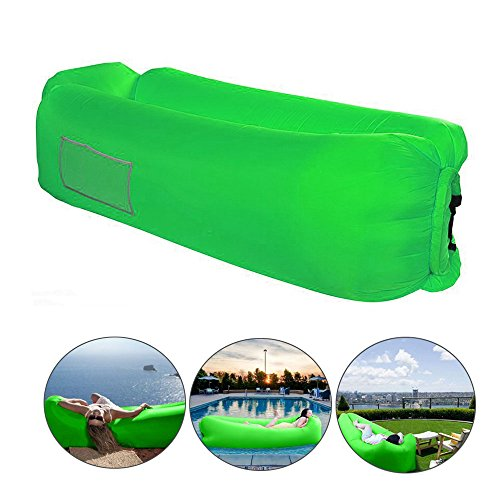 Bry Inflatable Lounger Air Chair Sofa Bed Sleeping Bag Couch for Beach Camping Lake Garden (Green02) from Beiruoyu
