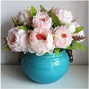 Hilingo 1 Bouquet Fake Peony Artificial Flower Home Wedding Decor Pink (With Free Gift) 2