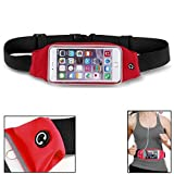 Red Sport Workout Belt Waist Bag Case Gym Pouch Reflective Cover with Touch Screen for Motorola Moto G5 PLUS (XT1687)