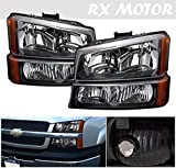 04 silverado headlight assembly - RXMOTOR HL-CH912030BA 2003-2006 Chevy Silverado 1500 2500 3500 Headlight Replacement And Bumper Signal Lamps Assembly